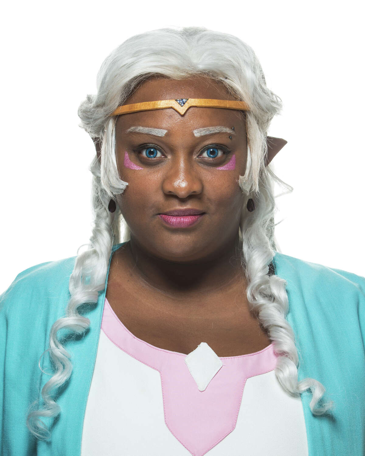 Jamila Clarke poses for a portrait as Allura from Voltron, a TV series.
