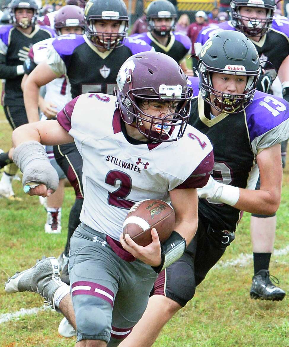 Stillwater's #2 Mason Seymour runs the ball during Saturday's game against Holy Trinity Sept. 30, 2017 in Schenectady,NY. (John Carl D'Annibale / Times Union)