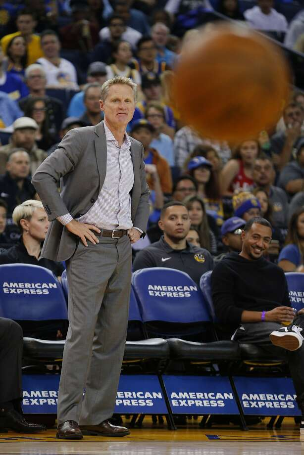 Golden State Warriors head coach Steve Kerr during the first half of an NBA Preseason basketball game between the Golden State Warriors and Denver Nuggets at the Oracle Arena on Saturday, Sept. 30, 2017, in Oakland, Calif. Photo: Santiago Mejia, The Chronicle