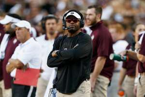 COLLEGE STATION, TX - SEPTEMBER 30:  Head coach Kevin Sumlin of the Texas A&M Aggies looks on in the first half against the South Carolina Gamecocks  at Kyle Field on September 30, 2017 in College Station, Texas.  (Photo by Bob Levey/Getty Images)