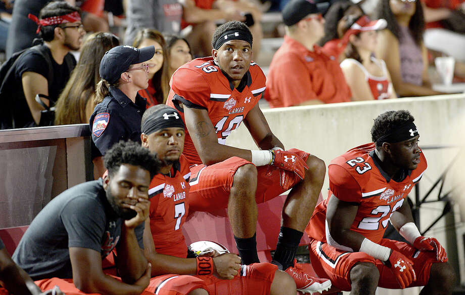 Lamar's bench takes in the relay action with Nicholls State during their match-up Saturday at Provost - Umphrey Stadium. Photo taken Saturday, September 30, 2017 Kim Brent/The Enterprise Photo: Kim Brent / BEN