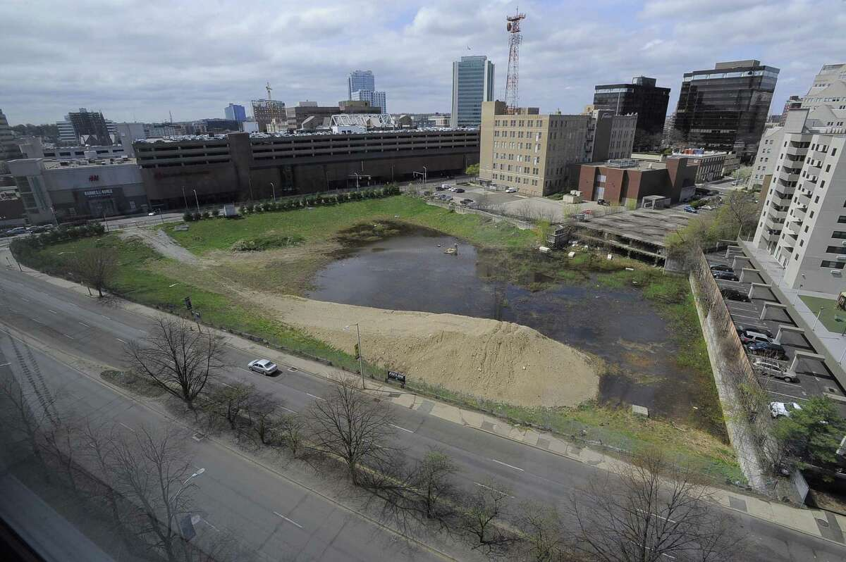 """The vacant lot, referred to as """"The Hole"""" , near Greyrock Place and Tresser Blvd in Stamford, Conn.,is photograph on Tuesday, April 25, 2017."""