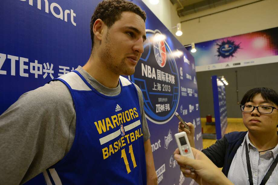Klay Thompson of the Golden State Warriors speaks to the media during media availability as part of the 2013 Global Games on October 17, 2013 at the Oriental Sports Center in Shanghai, China. Photo: Courtesy Of NBAE/Getty Images, NBAE/Getty Images