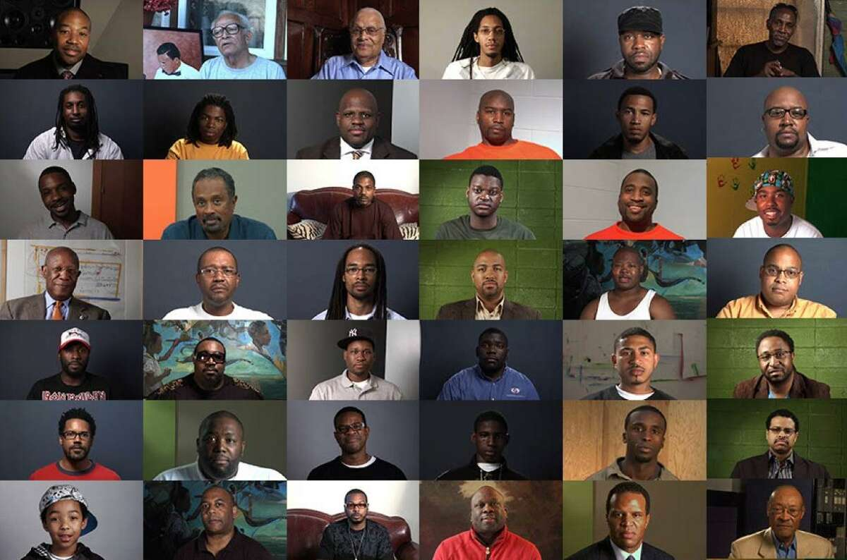 """""""Question Bridge: Black Males,"""" a video installation on view at the Oakland Museum of California through Feb. 25, features more than 150 black males from across the nation sharing their life experiences."""