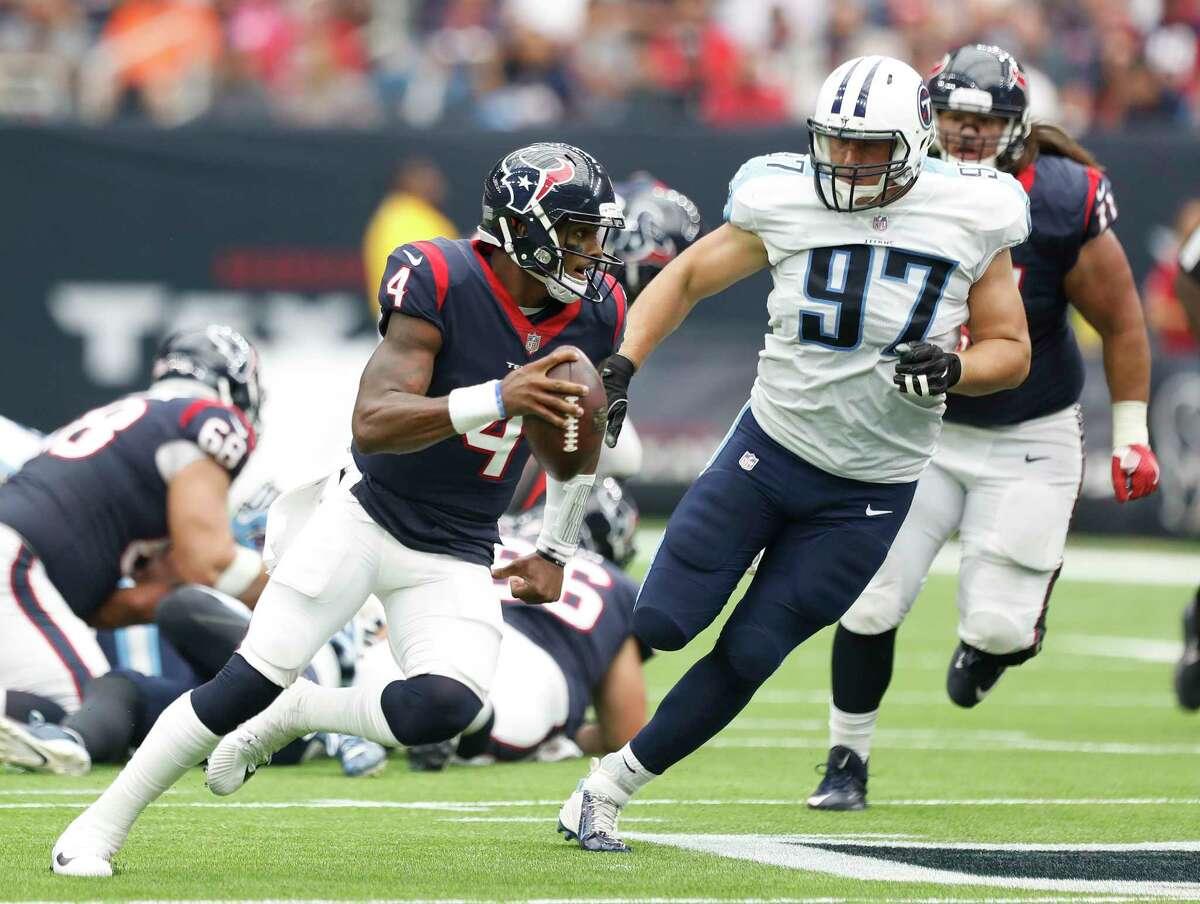 Houston Texans quarterback Deshaun Watson (4) runs the ball during the second quarter of an NFL football game at NRG Stadium, Sunday, Oct. 1, 2017, in Houston.