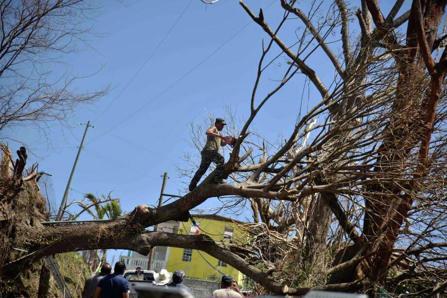 A man cuts a tree uprooted by Hurrican Maria in a street in Yabucoa, in the eastern part of storm-battered Puerto Rico, on September 28, 2017. Photo: HECTOR RETAMAL / AFP /Getty Images / AFP or licensors