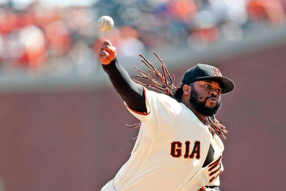 San Francisco Giants' Johnny Cueto pitches in 1st inning against San Diego Padres during MLB game at AT&T Park in San Francisco, Calif., on Sunday, October 1, 2017.