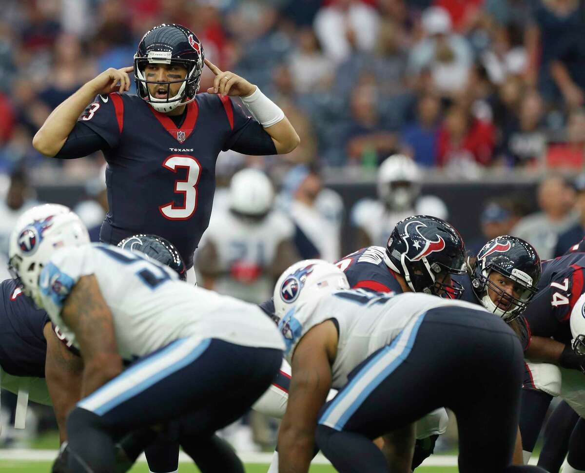 Houston Texans quarterback Tom Savage (3) came into the game during the fourth quarter of an NFL football game at NRG Stadium, Sunday, Oct. 1, 2017, in Houston.