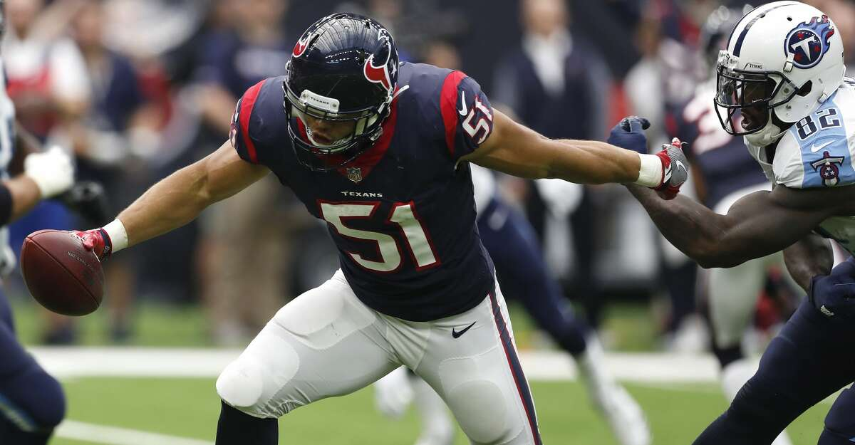Texans linebacker Dylan Cole (51) has been ruled out of Sunday's game against the Rams due to a hamstring injury.