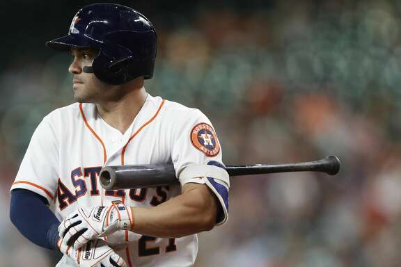 Houston Astros Jose Altuve (27) during his at bat in the first inning of an MLB game at Minute Maid Park, Tuesday June, 13, 2017.   ( Karen Warren / Houston Chronicle )