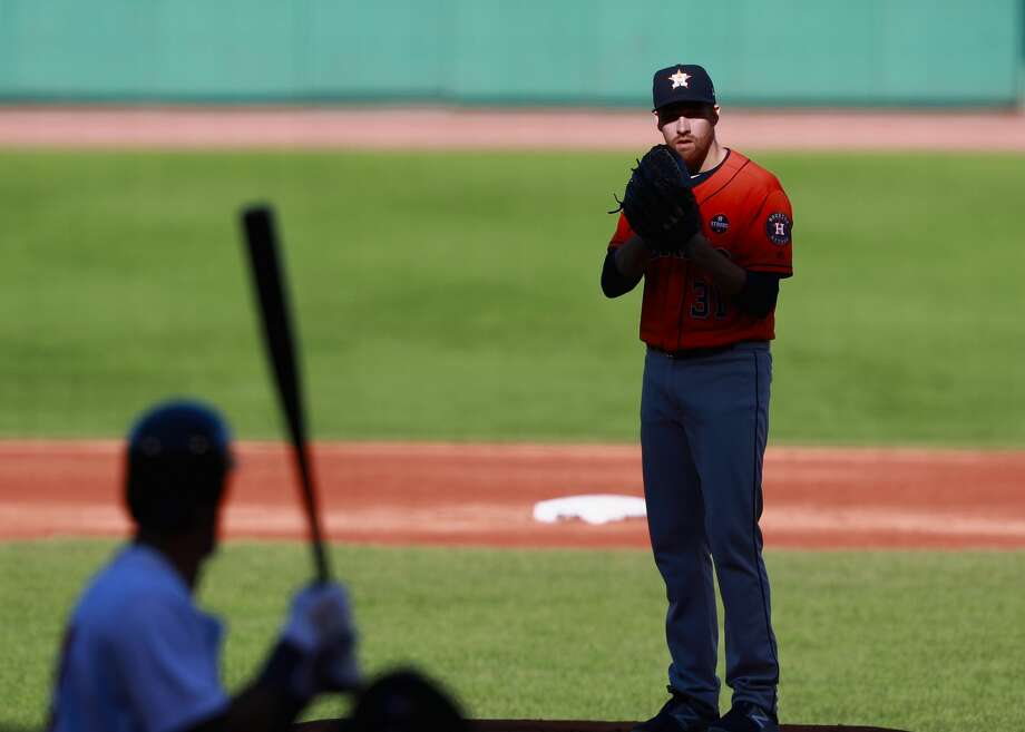 BOSTON, MA - OCTOBER 01:  Picther Collin McHugh #31 of the Houston Astros looks for a call in the bottom of the second inning during the game against the Boston Red Sox at Fenway Park on October 1, 2017 in Boston, Massachusetts.  (Photo by Omar Rawlings/Getty Images) Photo: Omar Rawlings/Getty Images