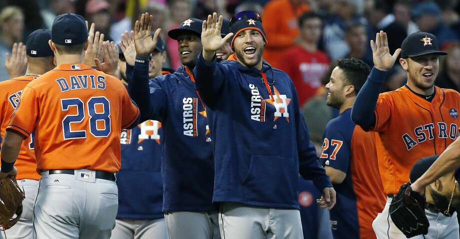 The Houston Astros celebrate after defeating the Boston Red Sox 4-3 during a baseball game in Boston, Sunday, Oct. 1, 2017. (AP Photo/Michael Dwyer) Photo: Michael Dwyer/Associated Press