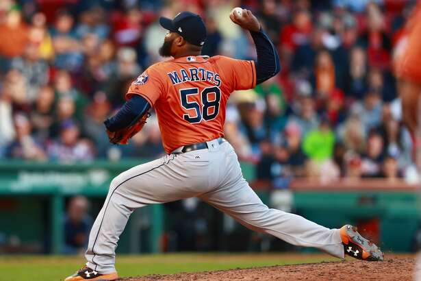 BOSTON, MA - OCTOBER 01:  Pitcher Francis Martes #58 of the Houston Astros poitches in the bottom of the eighth inning during the game against the Boston Red Sox at Fenway Park on October 1, 2017 in Boston, Massachusetts.  (Photo by Omar Rawlings/Getty Images)