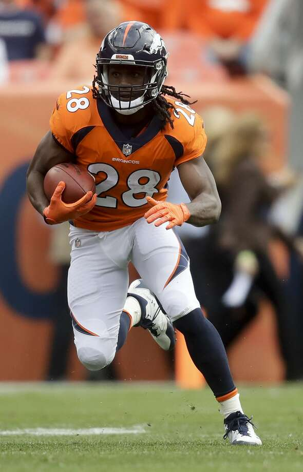 Denver Broncos running back Jamaal Charles runs against the Oakland Raiders during the first half of an NFL football game Sunday, Oct. 1, 2017, in Denver. (AP Photo/Jack Dempsey) Photo: Jack Dempsey, Associated Press