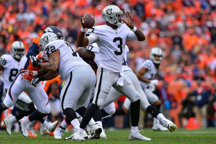 DENVER, CO - OCTOBER 1:  Quarterback EJ Manuel #3 of the Oakland Raiders passes against the Denver Broncos in the third quarter of a game at Sports Authority Field at Mile High on October 1, 2017 in Denver, Colorado. (Photo by Dustin Bradford/Getty Images) Photo: Dustin Bradford, Getty Images