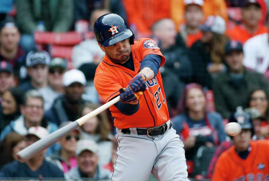 Houston Astros' Jose Altuve lines out during the first inning of a baseball game against the Boston Red Sox in Boston, Saturday, Sept. 30, 2017. (AP Photo/Michael Dwyer) Photo: Michael Dwyer, STF / AP2017