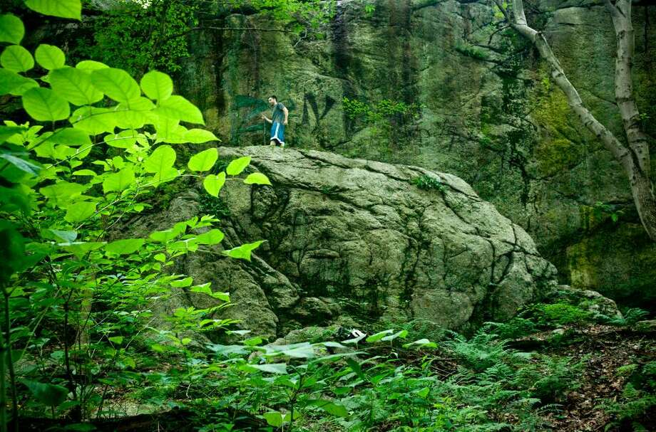 Laddins Rock Sanctuary in Old Greenwich boasts a 50-foot rock face that abuts I-95 and woodlands. It is connected to Rosa Hartman Park in Stamford. Photo: Adam Wolpinsky, Contributed Photo / Connecticut Post Contributed