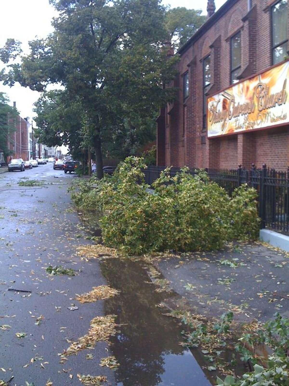 Storm damage of Jane Street and Brooks Street, via Twitter user @pdrobbers.