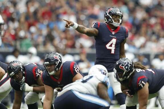 Houston Texans quarterback Deshaun Watson (4) calls a play during the third quarter of an NFL football game at NRG Stadium, Sunday, Oct. 1, 2017, in Houston.   ( Karen Warren / Houston Chronicle )