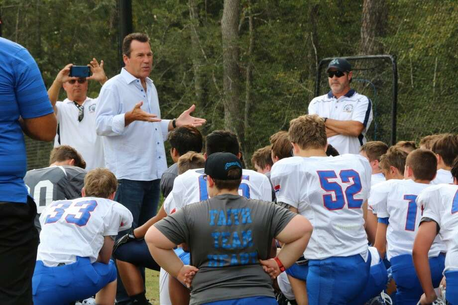 Former Texans coach Gary Kubiak had plenty of advice to share with St. Anthony of Padua players earlier this school year. Photo: Submitted