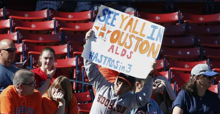 PHOTOS: Astros game-by-gameA Houston Astros fan holds a sign before a baseball game against the Boston Red Sox in Boston, Sunday, Oct. 1, 2017. (AP Photo/Michael Dwyer)Browse through the photos to see how the Astros fared through each game this season. Photo: Michael Dwyer/Associated Press