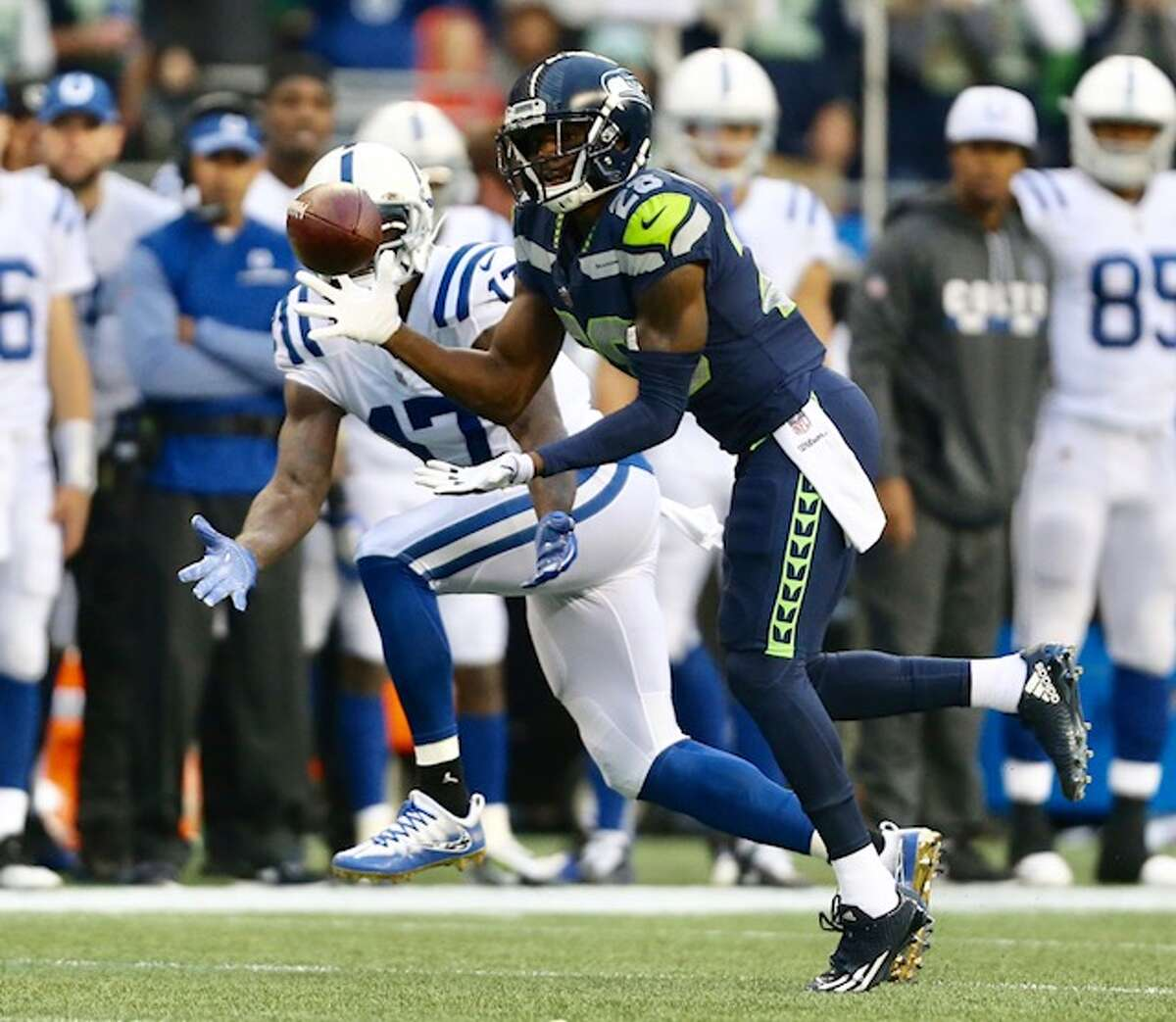 Cornerback Justin Coleman intercepts a pass from Jacoby Brissett in the second quarter of Seattle's game versus the Indianapolis Colts at CenturyLink Field on Sunday, Oct. 1, 2017.