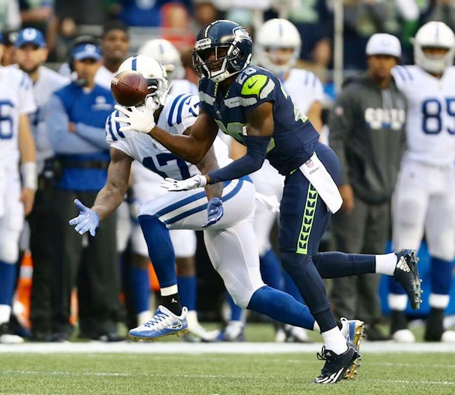 Cornerback Justin Coleman intercepts a pass from Jacoby Brissett in the second quarter of Seattle's game versus the Indianapolis Colts at CenturyLink Field on Sunday, Oct. 1, 2017. Photo: Grant Hindsley/SeattlePI