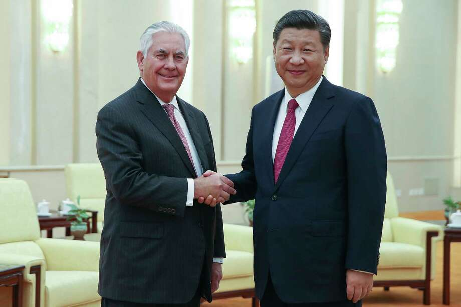 Secretary of State Rex Tillerson meets China's President Xi Jinping in September. The U.S. is holding back on steel to seek help on North Korea. Photo: Lintao Zhang, POOL / 2017 Getty Images
