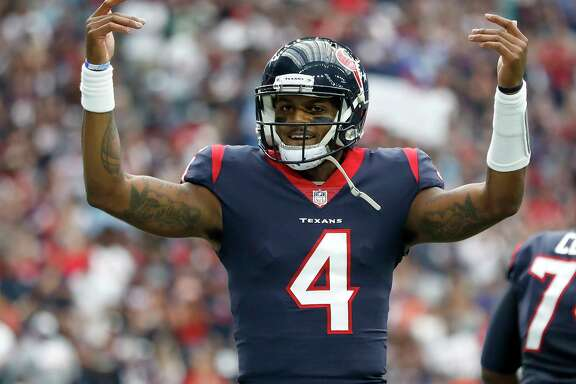 Texans quarterback Deshaun Watson was already celebrating in the first quarter after a touchdown pass to DeAndre Hopkins. By game's end, his total of TD passes would match his jersey number.