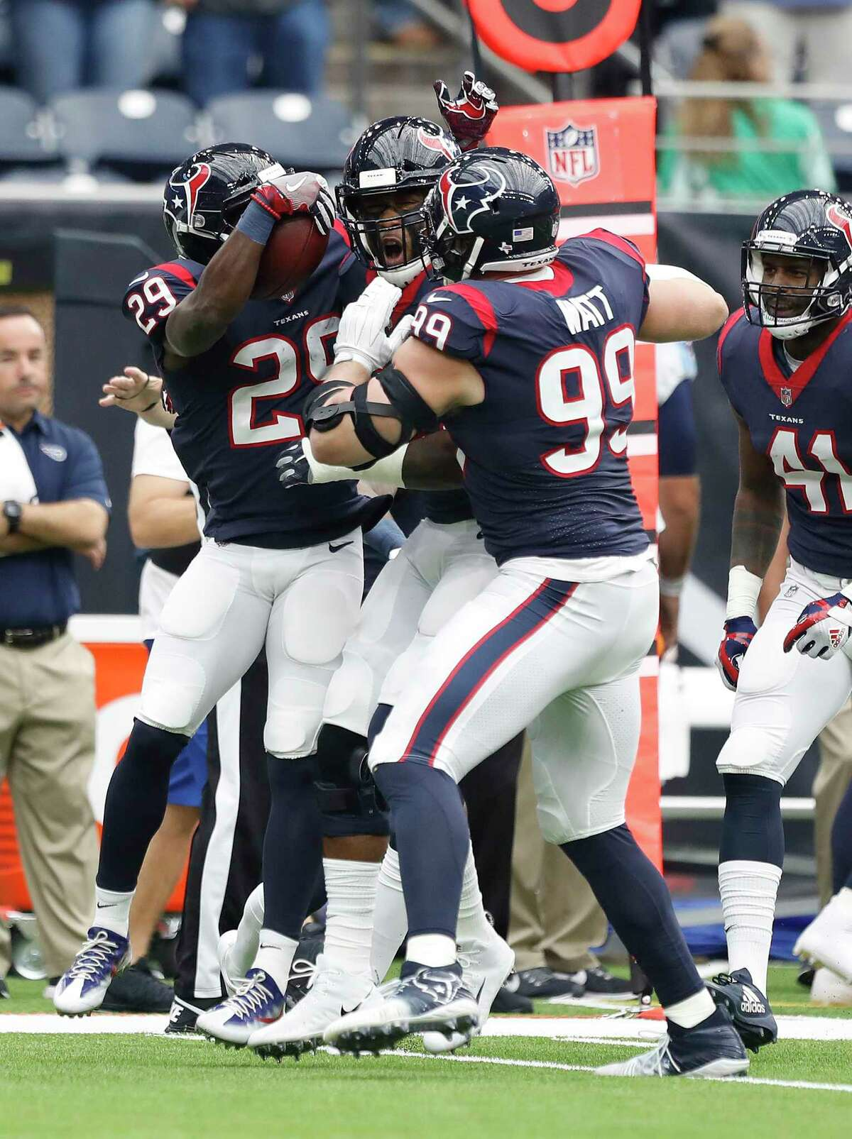 Houston Texans defensive end J.J. Watt (99) and Houston Texans free safety Andre Hal (29) celebrate an interception during the first quarter of an NFL football game at NRG Stadium, Sunday, Oct. 1, 2017, in Houston. ( Karen Warren / Houston Chronicle )