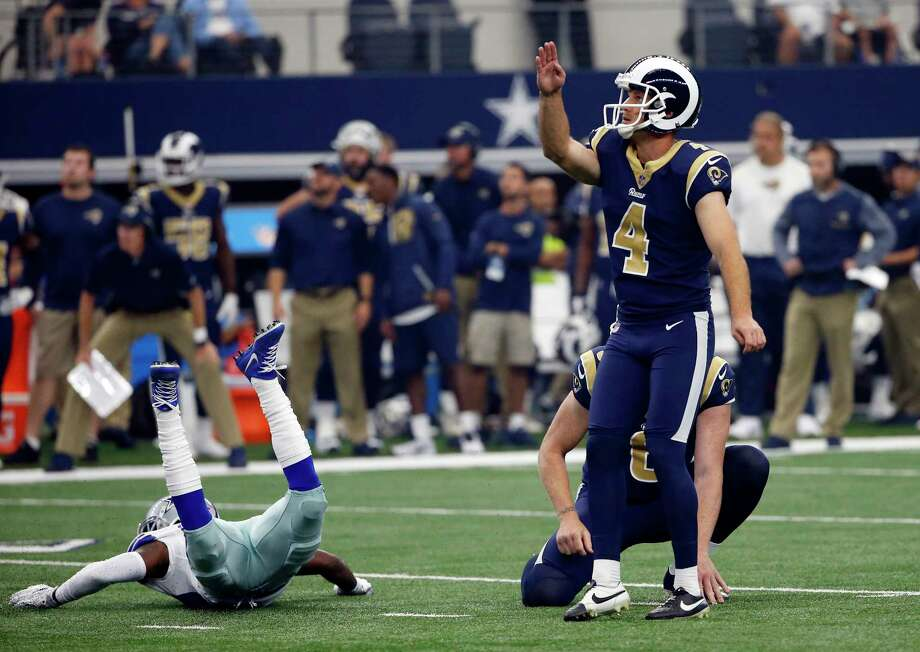 As if he needed the help, Rams kicker Greg Zuerlein gives one of his seven field goals a little extra push in Sunday's win over the Cowboys. Photo: Ron Jenkins, FRE / FR171331 AP