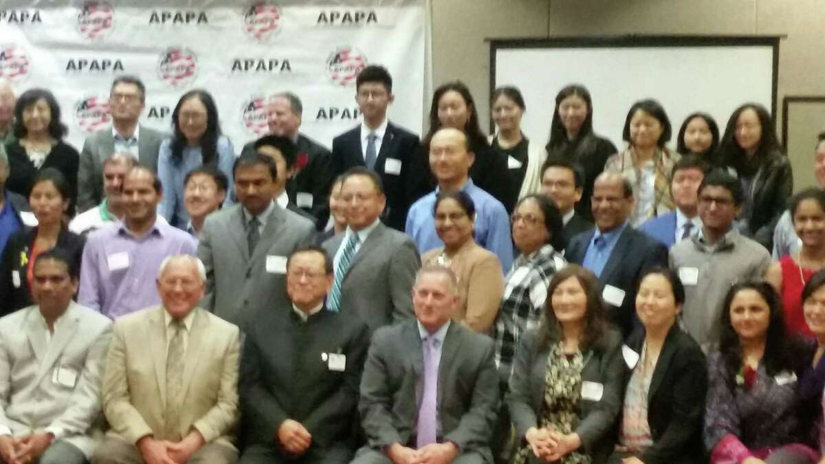 Congressman Paul Tonko (1st row, second from left) spoke to the Asian American voter registration drive/ political summit Saturday. APAPA Albany chapter president (1st row, 3rd from left) wants Cap Region Asian Americans to understand that assimilation and career success alone are not enough to protect them from bigotry. He hopes more Asian Americans will run for school board, mayor and city councils.