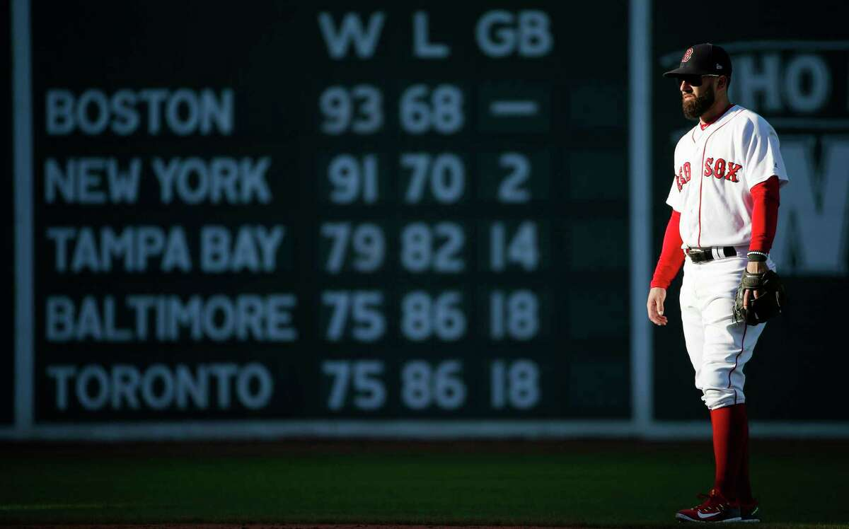 Boston Red Sox's Deven Marrero waits for a pitch during the fifth inning of a baseball game against the Houston Astros in Boston, Sunday, Oct. 1, 2017. (AP Photo/Michael Dwyer) ORG XMIT: MAMD107