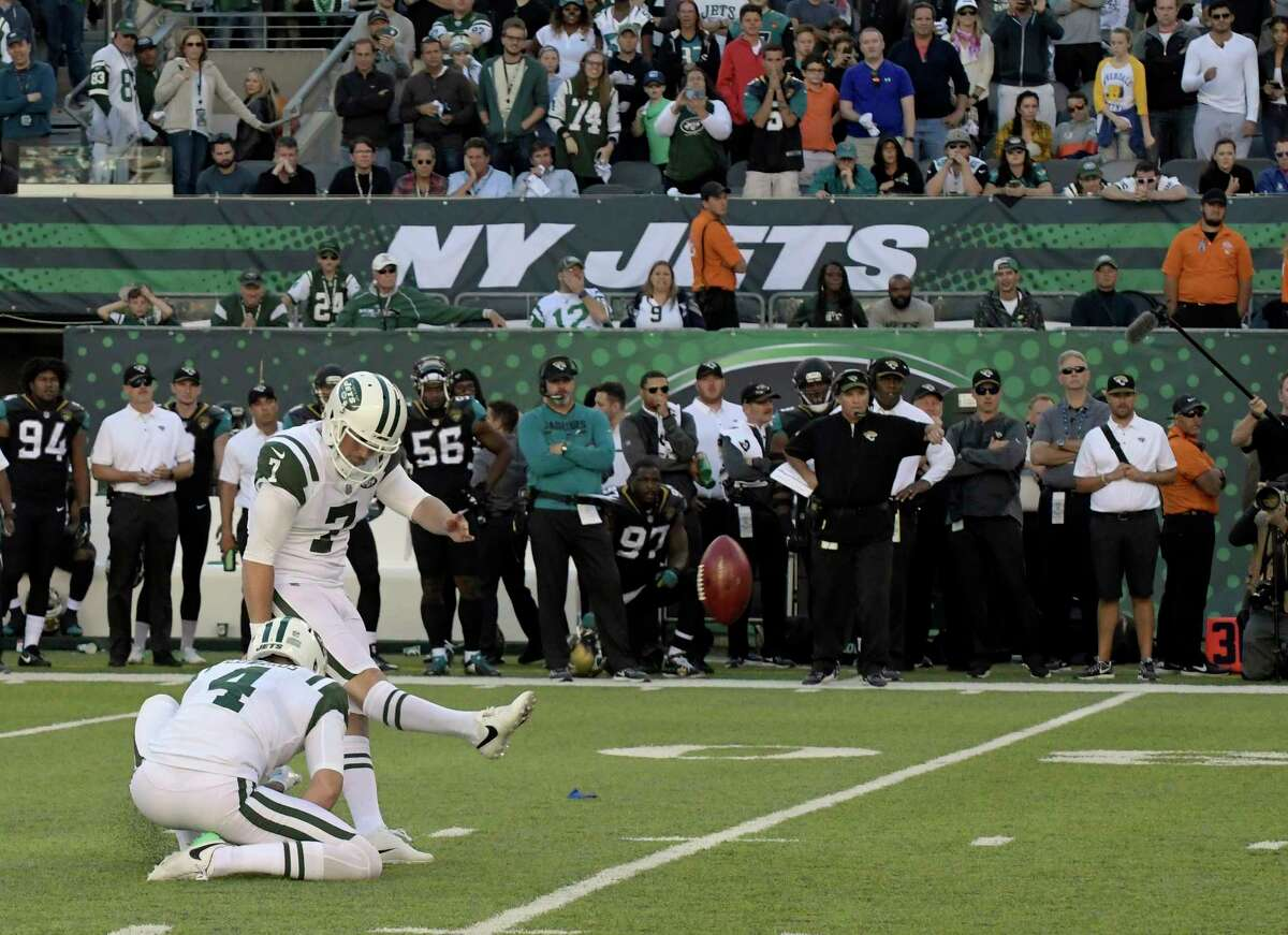 New York Jets kicker Chandler Catanzaro kicks the game winning field goal during the overtime period of an NFL football game against the Jacksonville Jaguars, Sunday, Oct. 1, 2017, in East Rutherford, N.J. The Jets defeated the Jaguars 23-20. (AP Photo/Bill Kostroun) ORG XMIT: NJSW130