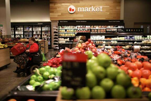 The refreshed grocery department skews towards grab and go food items.