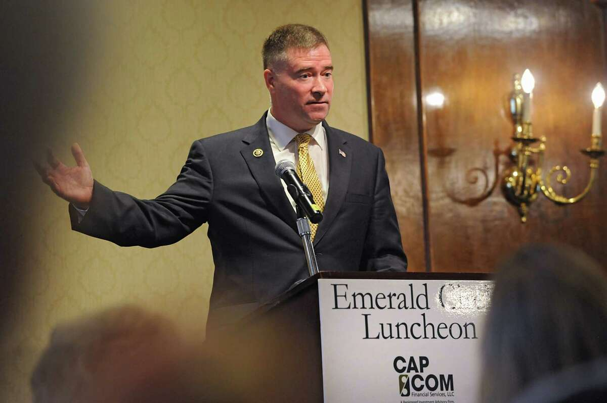 U.S. Congressman Chris Gibson speaks to CAP COM Federal Credit Union members at the Century House on Thursday, May 5, 2016 in Latham, N.Y. (Lori Van Buren / Times Union)