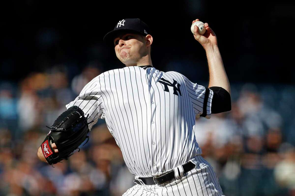 NEW YORK, NY - OCTOBER 1: Jordan Montgomery #47 of the New York Yankees pitches against the Toronto Blue Jays during the first inning at Yankee Stadium on October 1, 2017 in the Bronx borough of New York City. (Photo by Adam Hunger/Getty Images) ORG XMIT: 700012690