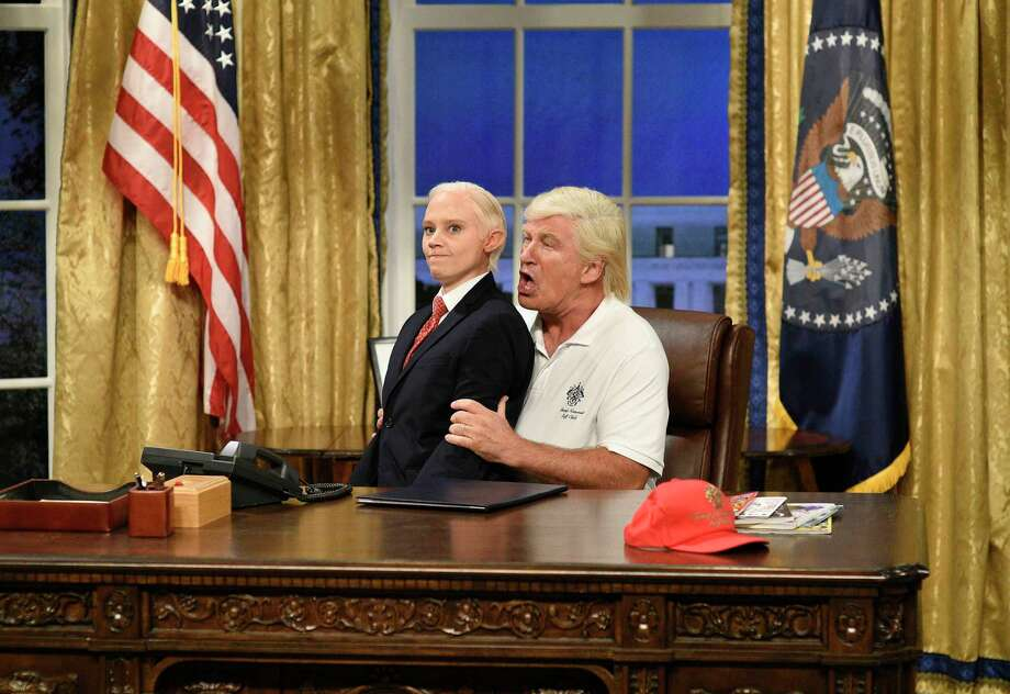 "In this image released by NBC, Kate McKinnon portrays Attorney General Jeff Sessions, left, and Alec Baldwin portrays President Donald Trump during the cold open for ""Saturday Night Live,"" on Sept. 30, 2017, in New York. (Will Heath/NBC via AP) ORG XMIT: NYET712 Photo: Will Heath / 2017 NBCUniversal Media, LLC"