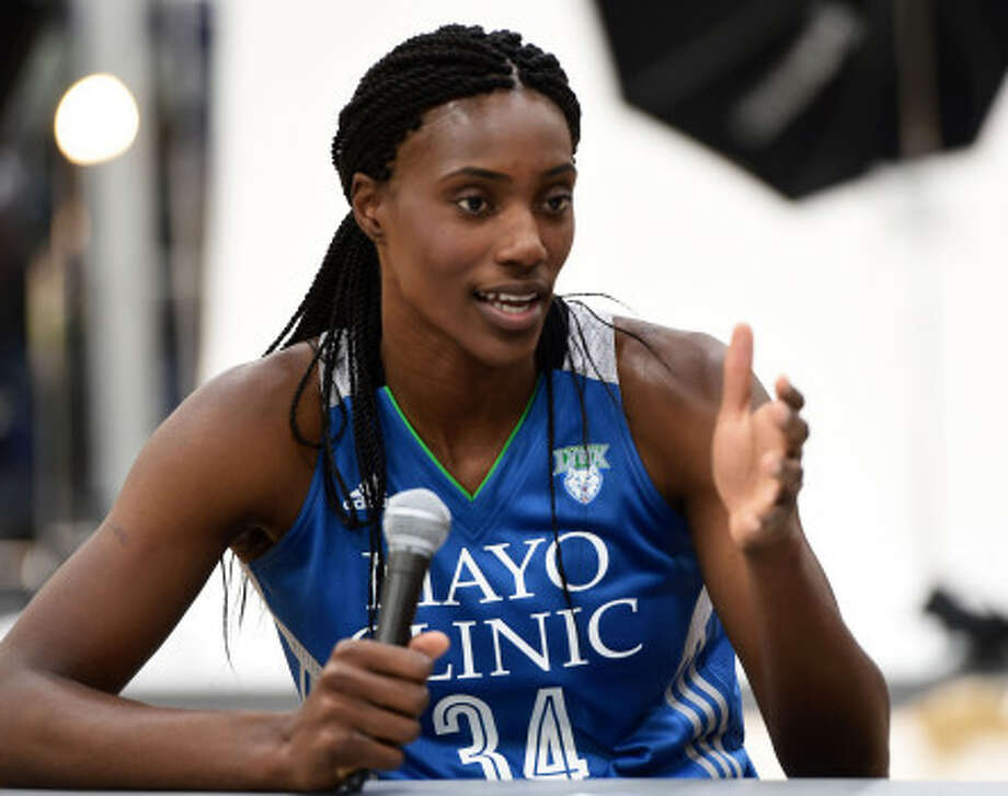Center Sylvia Fowles speks with reporters as the Minnesota Lynx held their annual media day in Minneapolis, Monday, May 1, 2017.  Scott Takushi \ Pioneer Press Photo: Scott Takushi