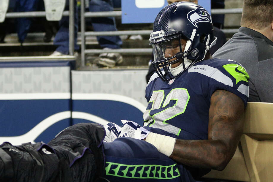 Seahawks running back Chris Carson is carted off the field after sustaining a left leg injury during the second half against the Indianapolis Colts at CenturyLink Field on Saturday, Oct. 1, 2017. Photo: GRANT HINDSLEY, SEATTLEPI.COM / SEATTLEPI.COM