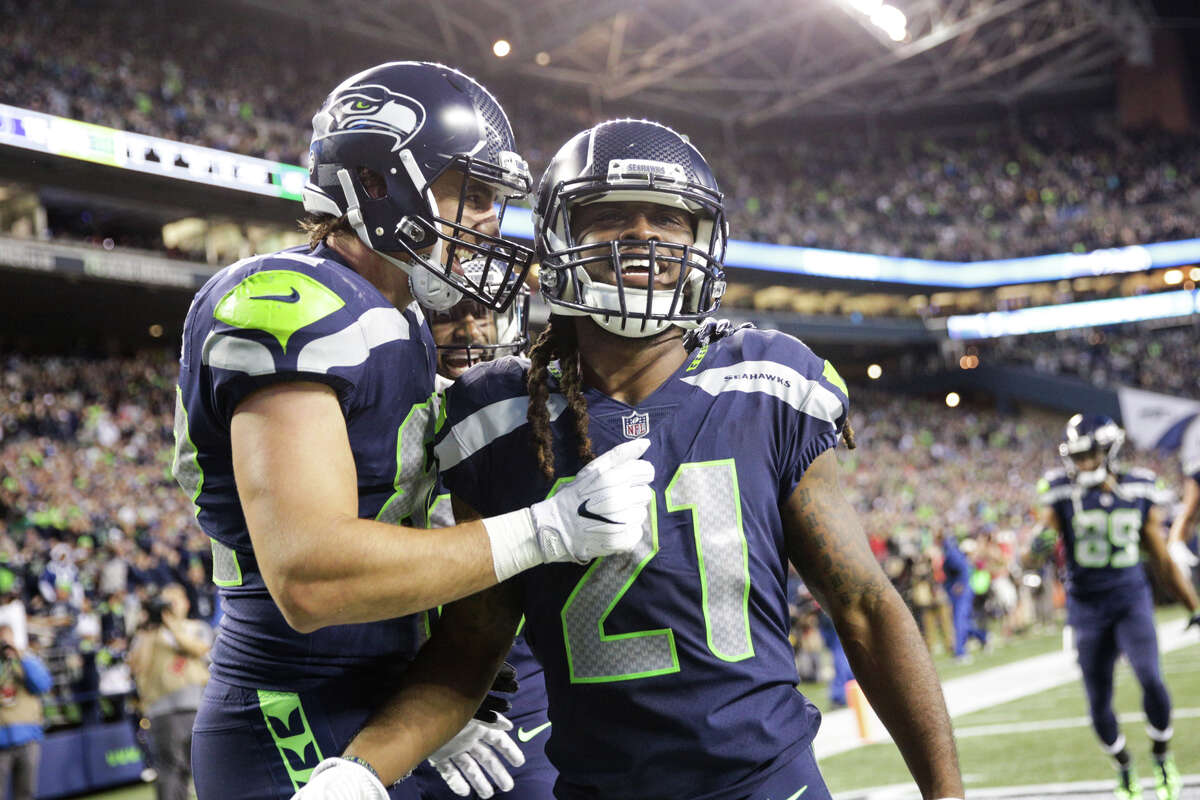 Seahawks running back J.D. McKissic smiles after scoring his second touchdown during the second half against the Indianapolis Colts at CenturyLink Field on Saturday, Oct. 1, 2017.