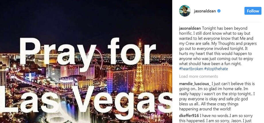 Country music star Jason Aldean was performing at the Route 91 Harvest Festival on the Las Vegas strip when shots rang out, killing at least 20 and wounding more than 100. See photos in the following gallery (warning: some images are graphic.)