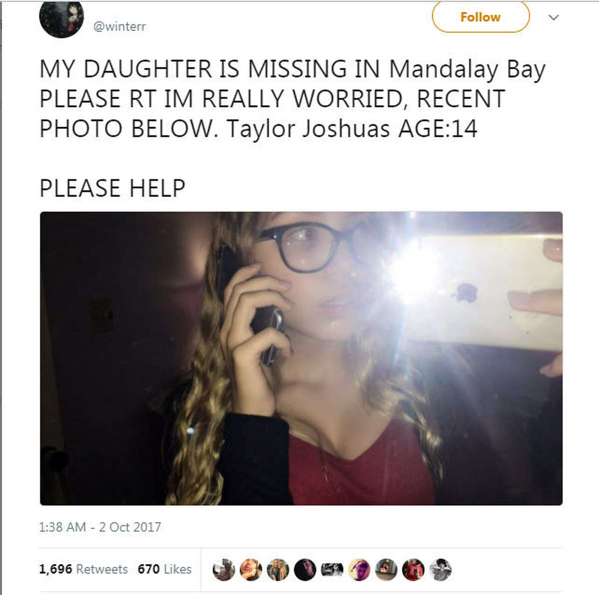 A troll account is spreading a hoax about a missing 14-year-old victim named Taylor Joshuas. The hoax was discussed in the tweet string after the photo had gone viral.