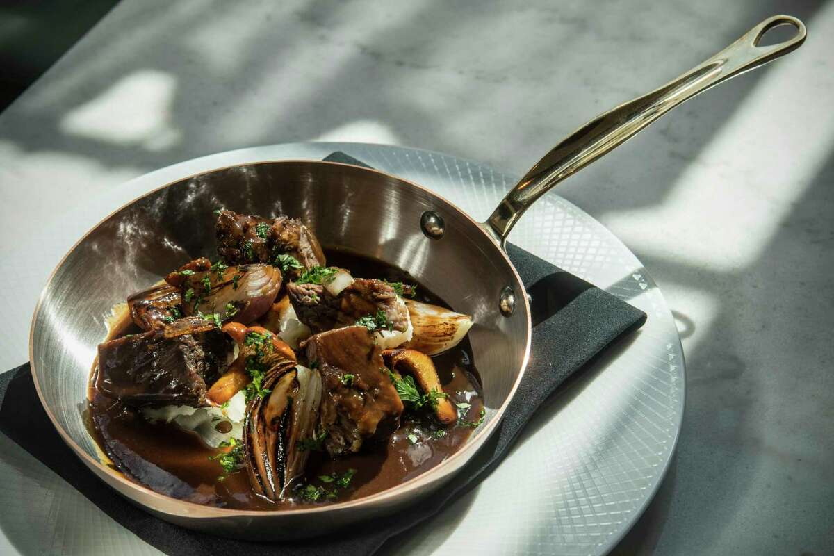Beef bourguignon at Lucienne restaurant within the Hotel Alessandra.