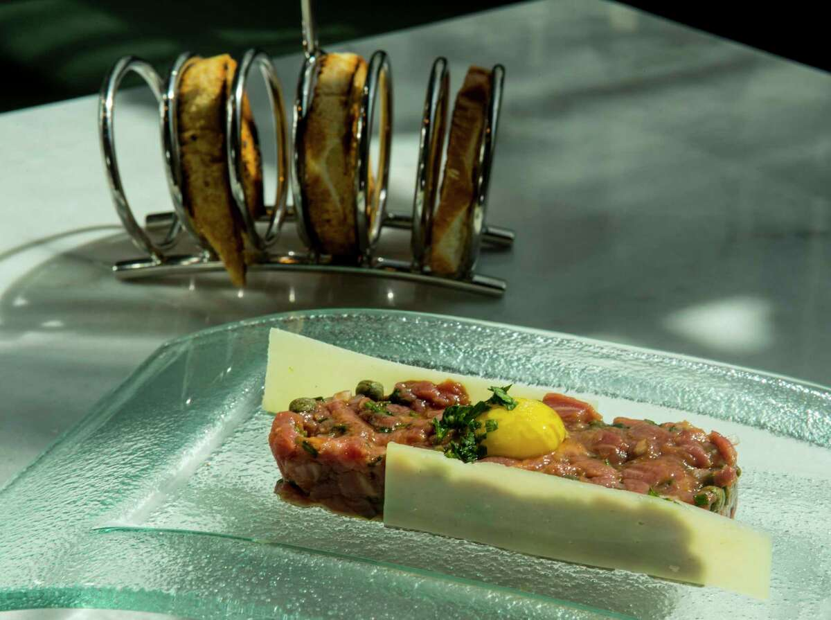 Lamb tartare at Lucienne restaurant in the Hotel Alessandra in downtown Houston.