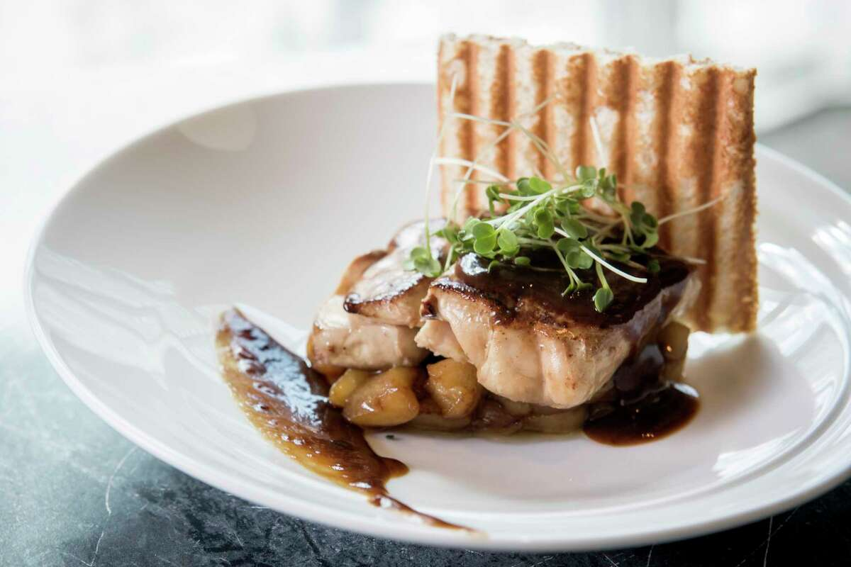 Foie gras with apple, Calvados and veal demi-glace at Lucienne restaurant.