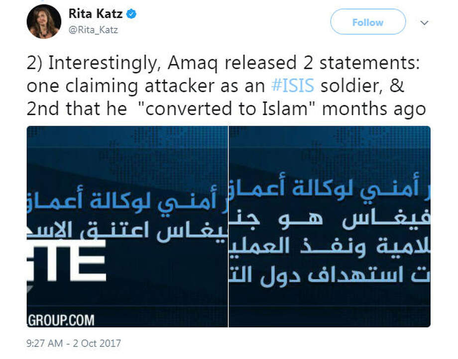 ISIS media representatives have claimed that Las Vegas shooter Stephen Paddock converted to Islam recently and terrorized the festival for ISIS, but that has yet to be confirmed by American officials.Source: Twitter Photo: Twitter