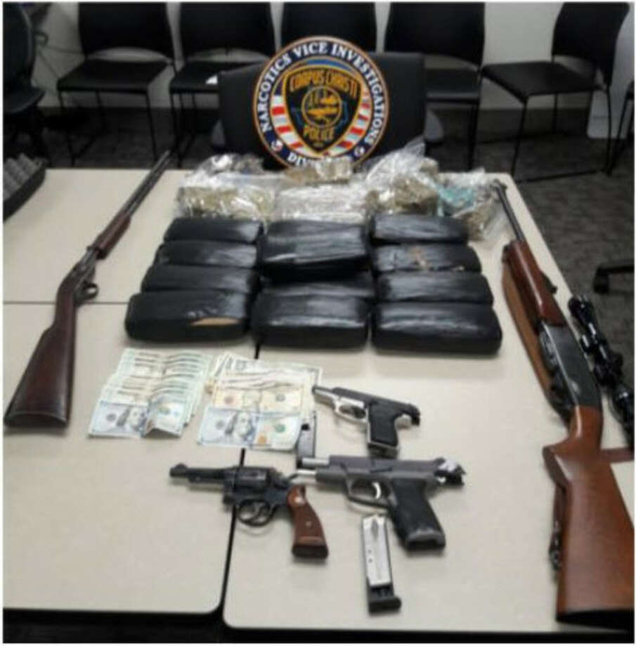 Guns, drugs and cash were found at a South Side Corpus Christi home during a drug raid.