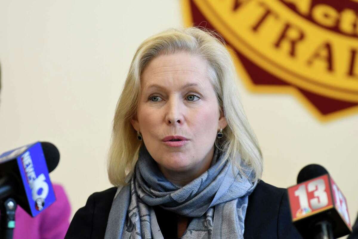 Sen. Kirsten Gillibrand speaks during a visit to Colonie High School where she announced her bipartisan legislation, the 21st Century Strengthening Hands On Programs that Cultivate Learning Approaches for Successful Students Act on Monday, Oct. 2, 2017, in Colonie, N.Y. (Will Waldron/Times Union)