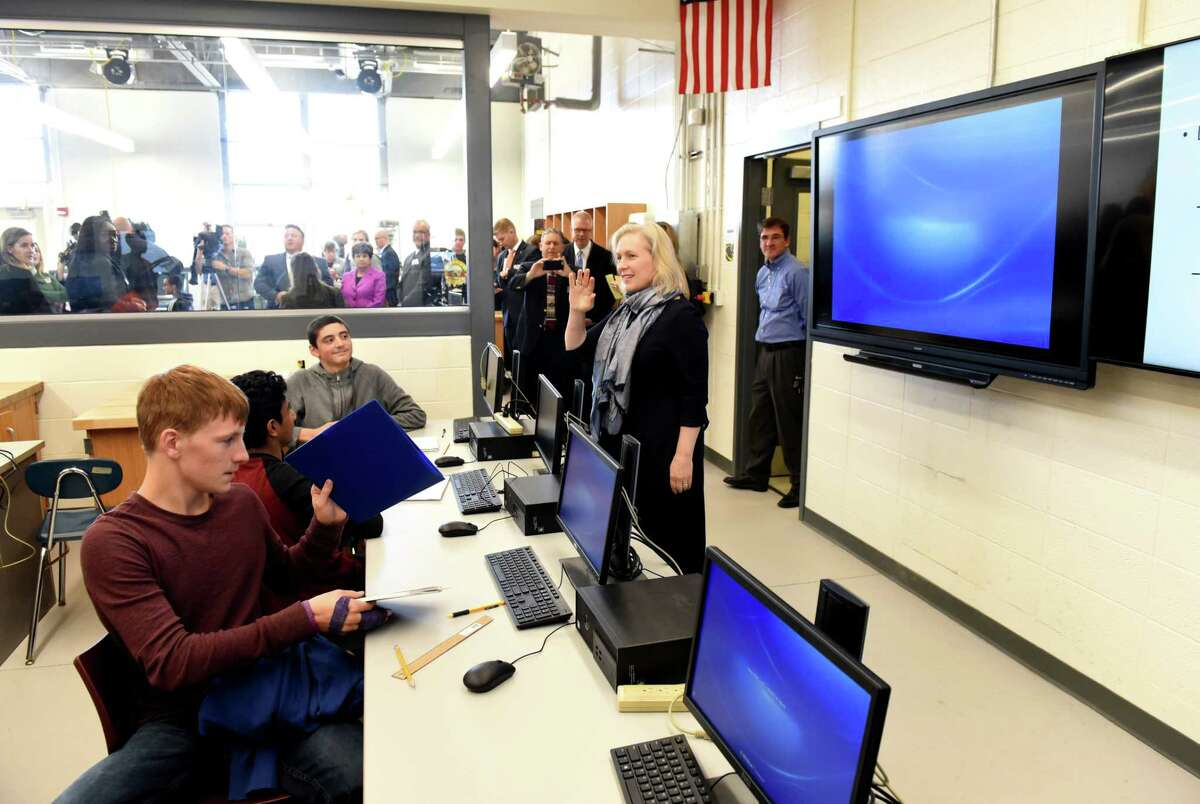 Sen. Kirsten Gillibrand visits a classroom in Colonie High School where she announced her bipartisan legislation, the 21st Century Strengthening Hands On Programs that Cultivate Learning Approaches for Successful Students Act on Monday, Oct. 2, 2017, in Colonie, N.Y. (Will Waldron/Times Union)